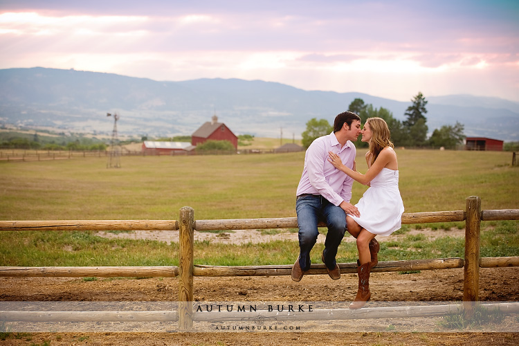 outdoorsy rustic engagement session colorado barn sunset