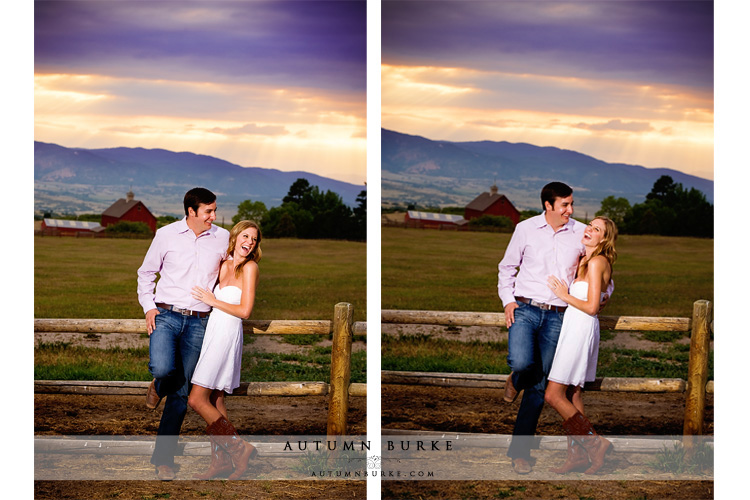 amazing colorado sunset cowboy boots barn rustic engagement session