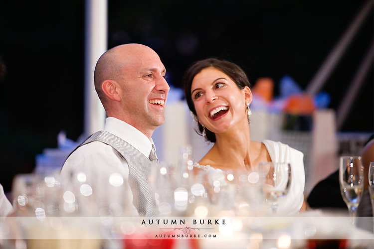 denver country club colorado wedding toasts bride groom laughing
