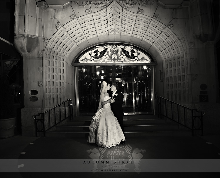 front entrance to the historic brown palace hotel denver wedding bride and groom