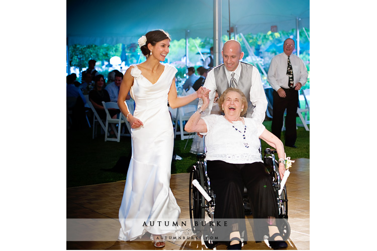 sweet moment bride and groom dance with grandma denver country club wedding reception