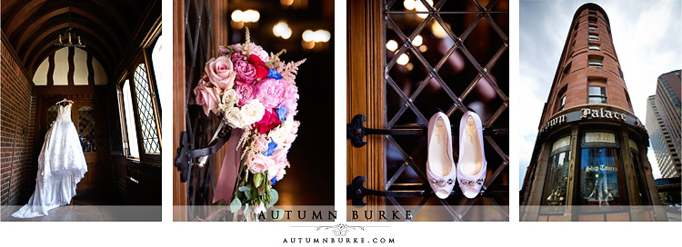 brown palace hotel denver wedding details shoes wedding dress floral bouquet