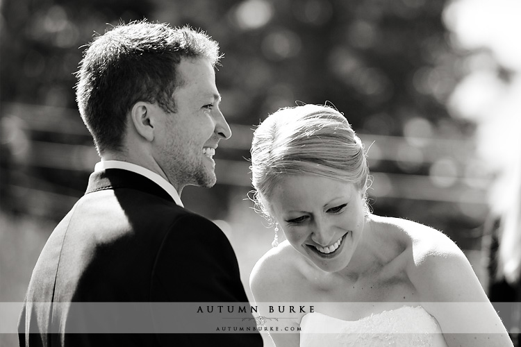 bride and groom laughter beaver creek colorado wedding ceremony