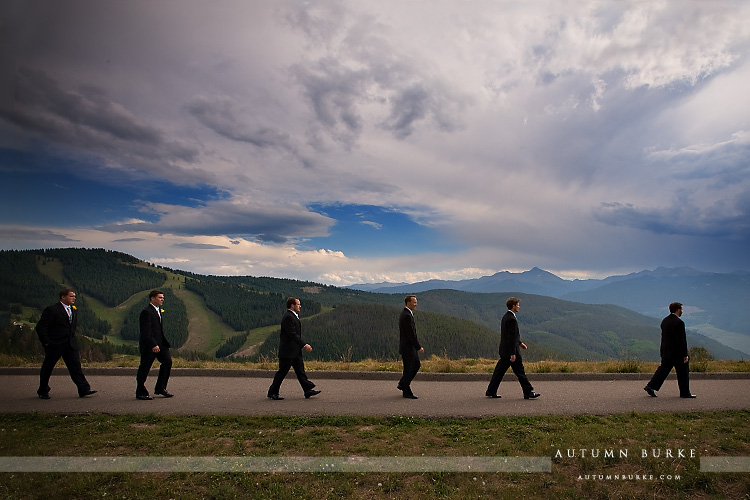 vail wedding deck mountain ceremony groom with groomsmen