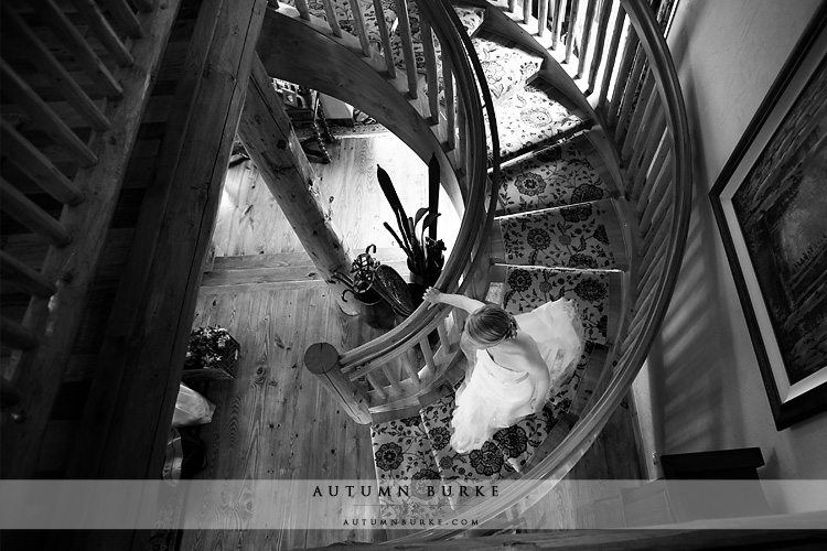 bride descends staircase beaver creek mountain wedding ceremony allies cabin