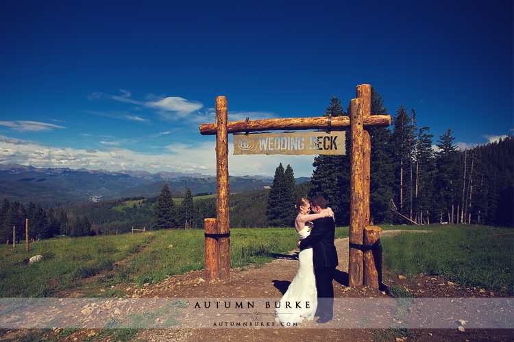 beaver creek colorado mountain wedding deck bride and groom