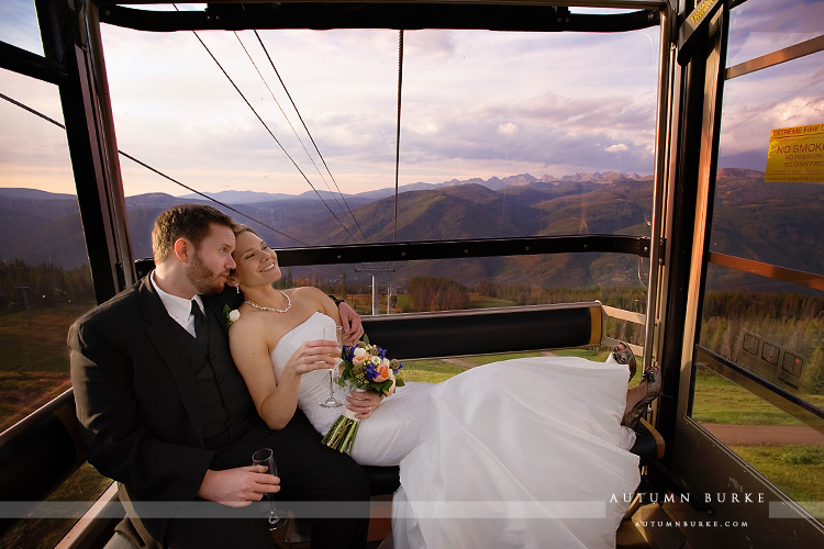 vail colorado ski slope wedding deck bride groom mountains gondola