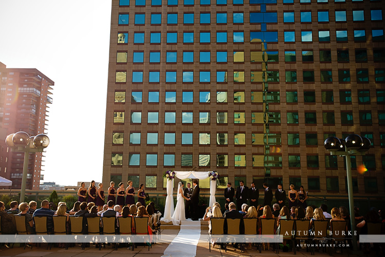 downtown denver wedding ceremony rooftop westin hotel colorado