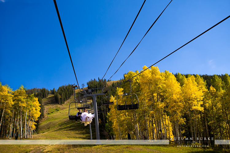 beaver creek colorado beanos cabin wedding bride and groom on the chairlift changing aspen fall autumn