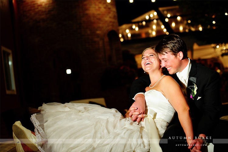 colorado wedding crooked willow barn bride and groom at night