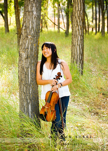 outdoors senior portrait colorado rustic field viola violin instrument