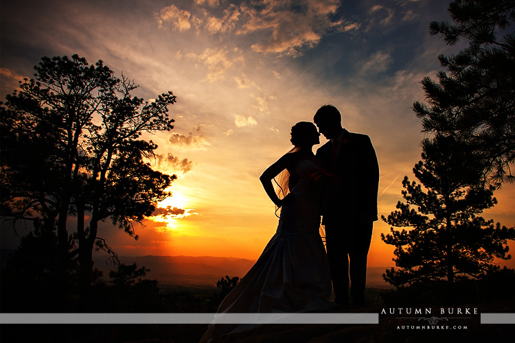 sanctuary golf club wedding sedalia colorado sunset bride and groom