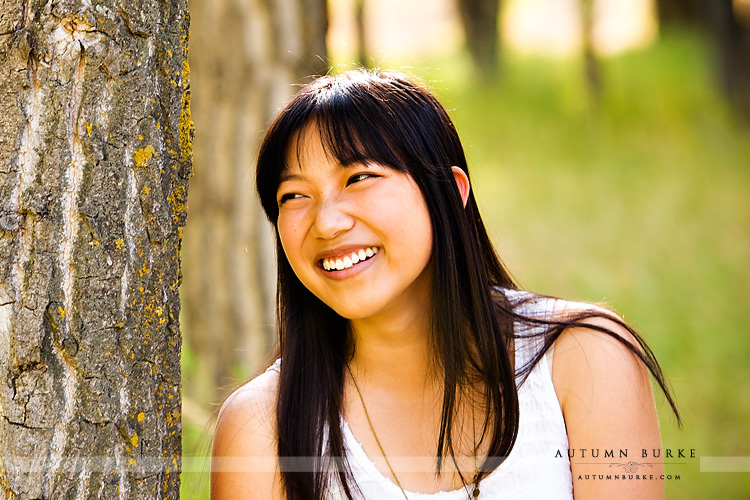 laughing portrait high school senior colorado outdoors