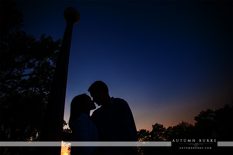 denver wash park colorado sunset silhouette wedding engagement portrait session