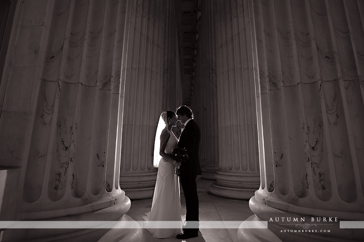 downtown denver wedding byron white courthouse columns dramatic bride groom