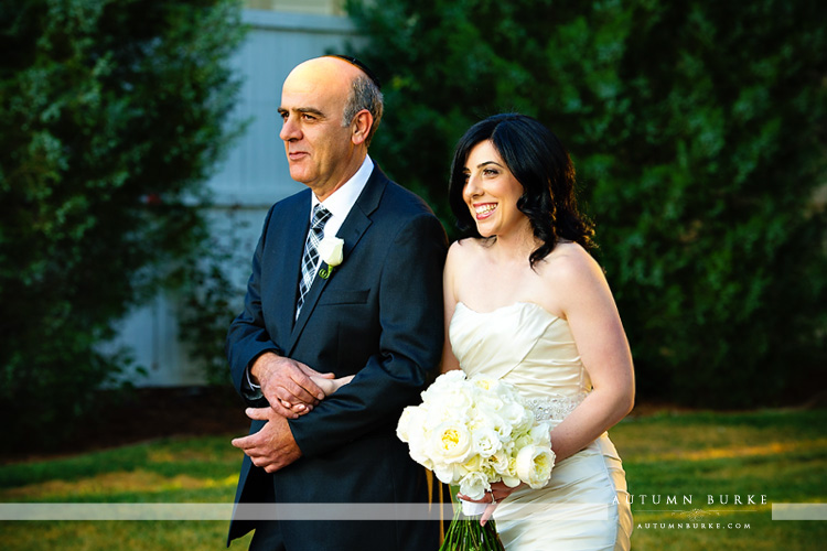 lionsgate event center colorado wedding ceremony dad walks bride down the aisle