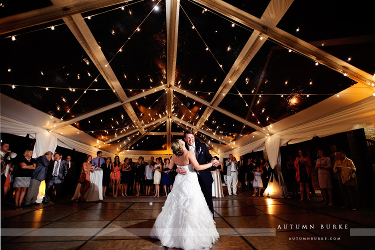 crooked willow farms wedding larkspur colorado bride and groom first dance tent courtyard