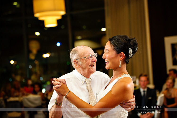 denver colorado wedding bride dancing with grandfather sweet westin hotel wedding reception