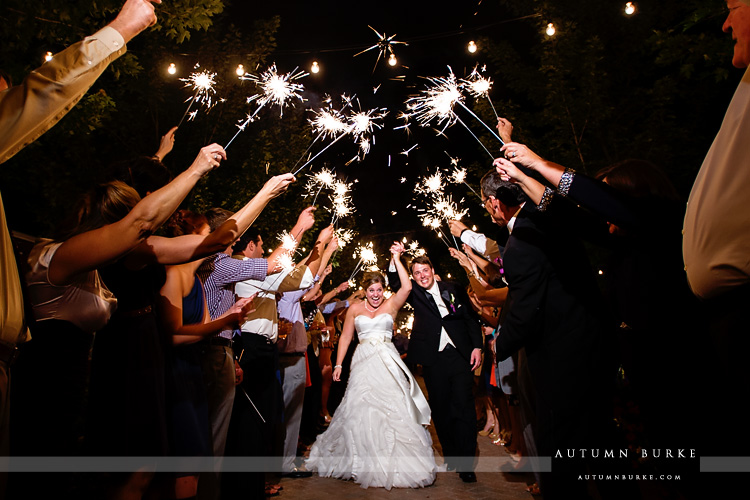 crooked willow farms wedding larkspur colorado sparkler exit bride and groom