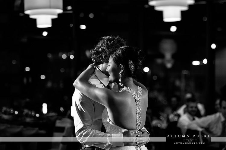 black and white dramatic first dance westin hotel wedding downtown denver colorado