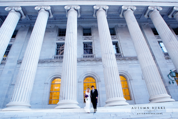 downtown denver westin wedding colorado bride and groom byron white courthouse