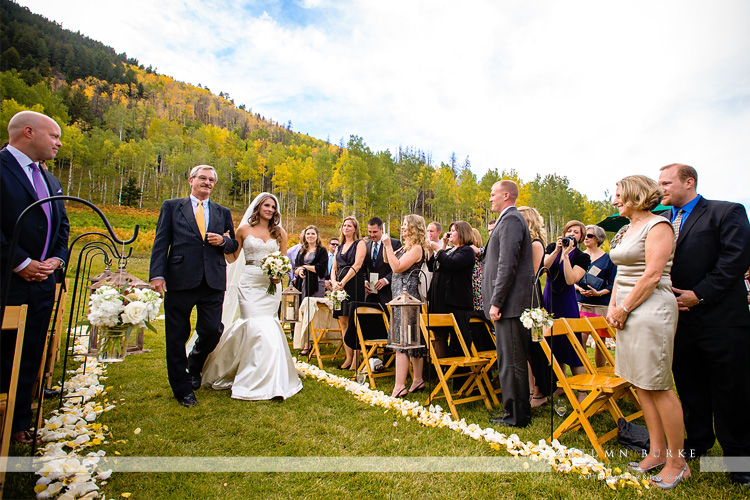 beaver creek colorado beanos cabin wedding ceremony bride walks down aisle