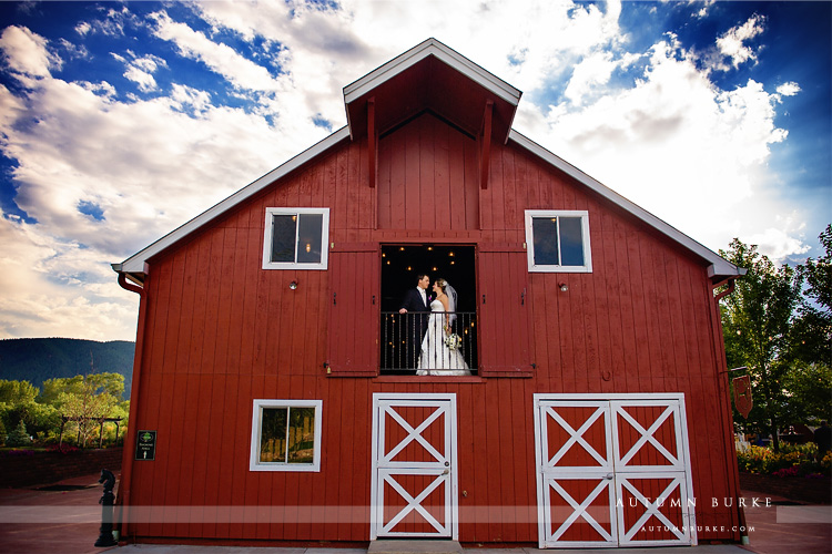 crooked willow barn wedding colorado bride and groom portrait