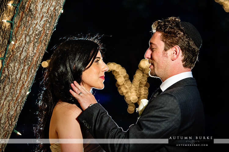 bride and groom at night lionsgate event center wedding colorado