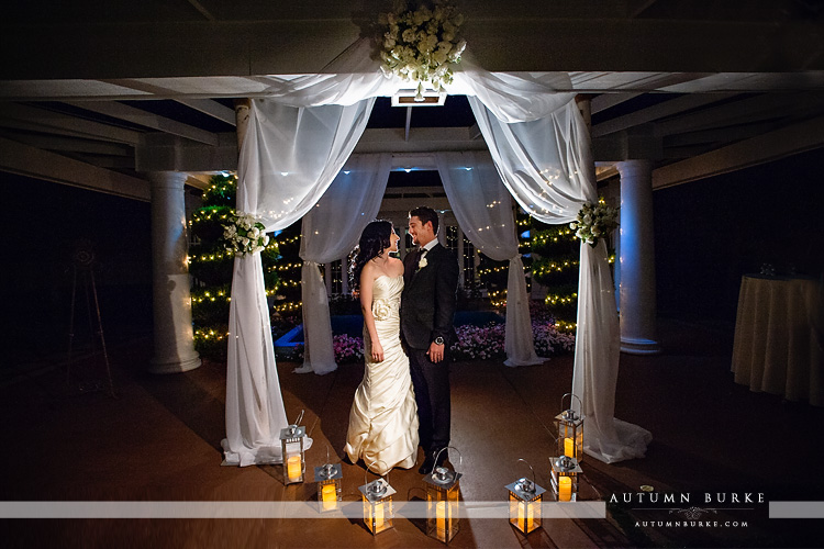 lionsgate event center wedding ceremony bride and groom at night under chuppah with lanterns