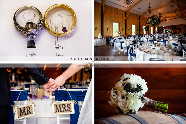 colorado wedding rustic elegance crooked willow farms larkspur details ballroom bouquet rings