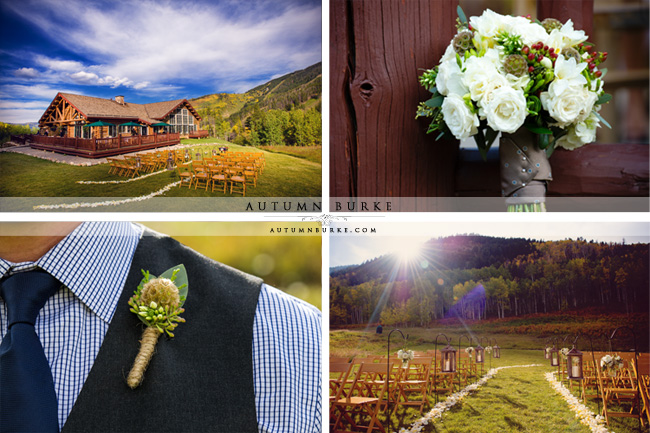 beanos cabin wedding beaver creek colorado floral bouquet outdoor rustic nature ceremony details lanterns