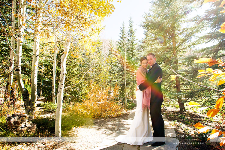 sonnenalp vail colorado mountain wedding bride groom betty ford gardens