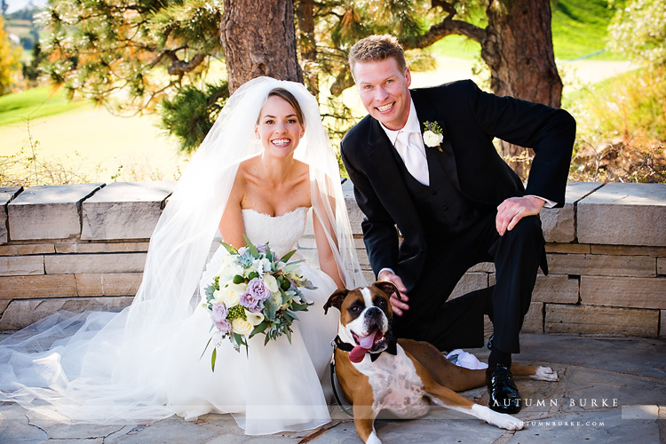bride and groom and dog colorado wedding at the sanctuary golf club sedalia