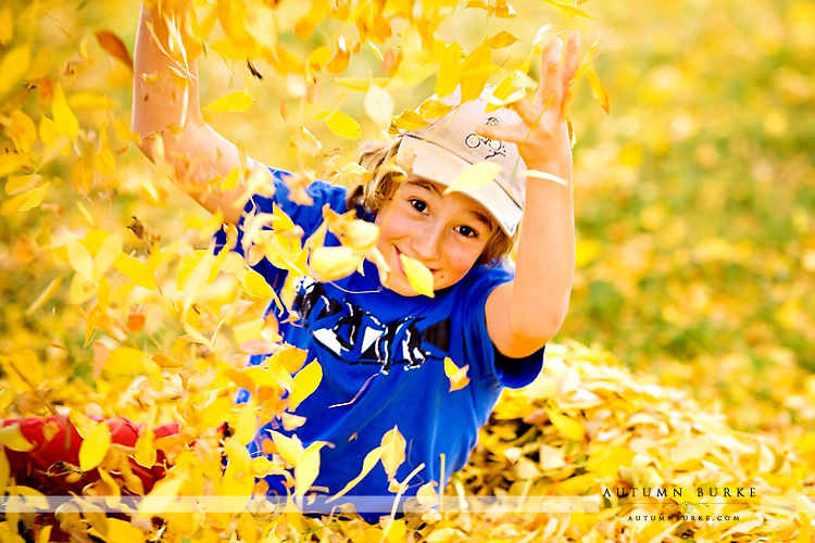 colorado childrens portrait session fall autumn leaves