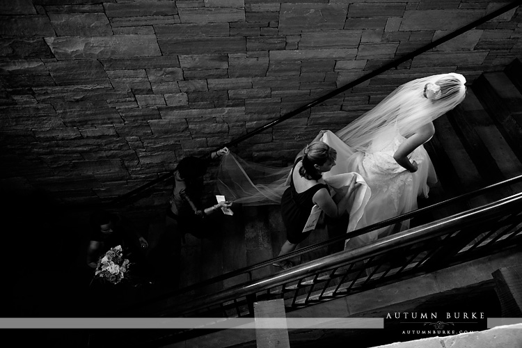 the sanctuary golf club wedding colorado bride staircase