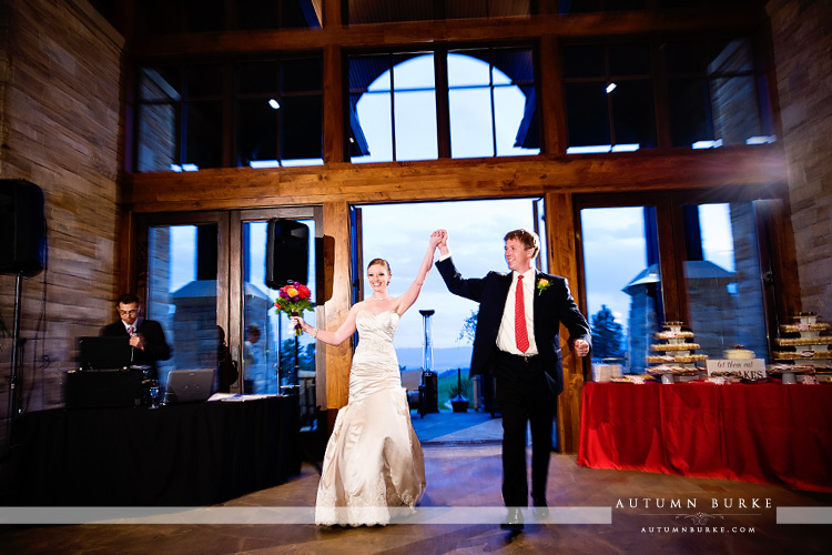 the sanctuary castle pines colorado bride and groom grand entrance