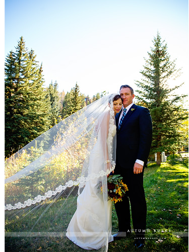 sonnenalp vail wedding colorado bride and groom portrait cathedral veil