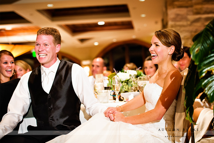 the sanctuary colorado wedding bride and groom laughing during toasts