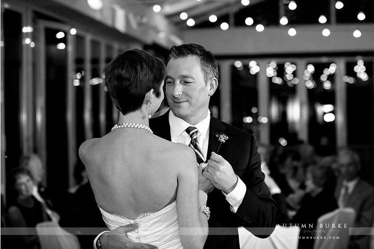 classic black and white bride and groom first dance sonnenalp vail wedding