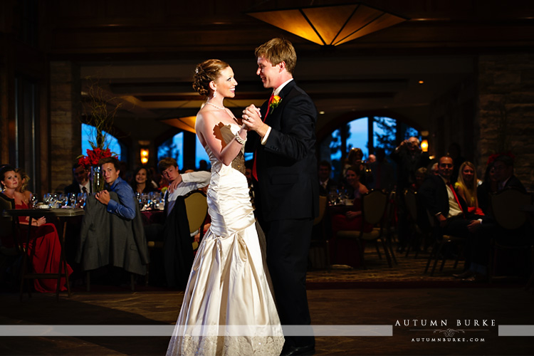sanctuary golf club wedding sedalia colorado bride and groom first dance