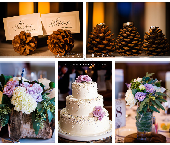 the sanctuary golf club sedlia colorado wedding reception details wedding cake centerpieces floral pine cones rustic elegance