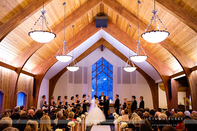 vail chapel winter wedding ceremony colorado