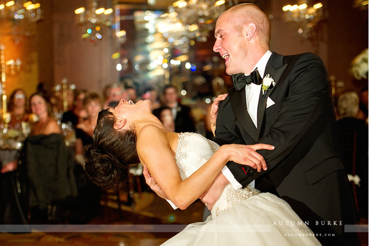 four seasons vail colorado wedding bride and groom first dance ballroom