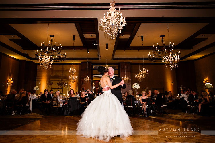 four seasons colorado wedding chandelier ballroom first dance parent dances