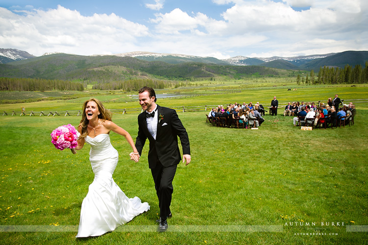 just married devils thumb ranch wedding ceremony couple
