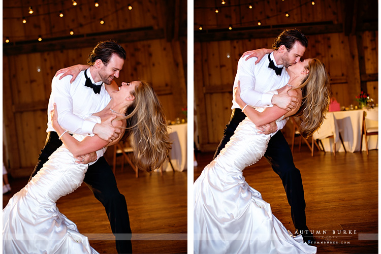 colorado barn wedding devils thumb ranch first dance dip