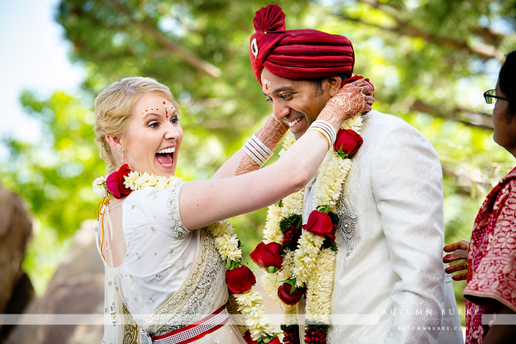 colorado hindu wedding indian ceremony bride and groom flower garlands