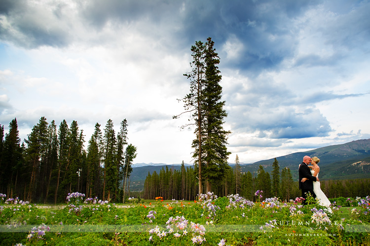 colorado mountain wedding ten mile station bride and groom wildflowers