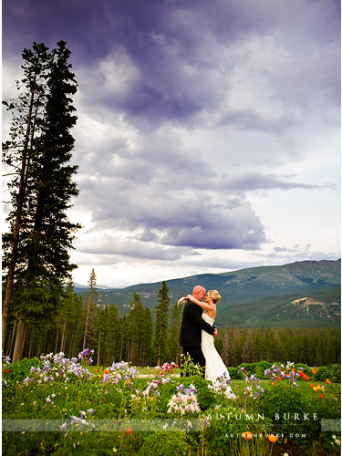 wildflowers and mountains ten mile station wedding breckenridge colorado bride and groom
