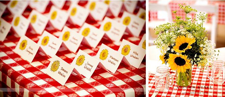 colorado wedding rehearsal dinner cowboy theme decor red gingham sunflowers